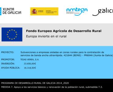 Verea recibe a subvención a empresas aisladas en zonas rurales para a contratación de servidos de banda ancha ultrarrápida